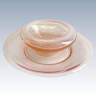 Fostoria Seascape Coral Sand Pink Opalescent Glass Pansy Bowl with Liner