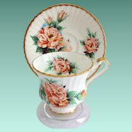 Paragon Bone China E50D Peach Colored Rose Teacup and Saucer Signed Dany Robin