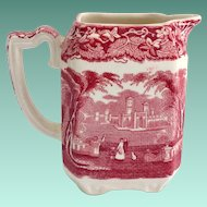 Mason's Vista Ironstone Red Pink Transfer Ware Larger Square Creamer