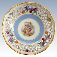 Schumann Germany Pierced Rim Dresden Flowers Portrait Center Nut Dish