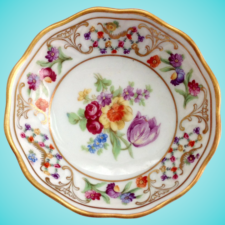 Helpful Old Bavaria Small Porcelain Floral Plate Dish Germany Decorative Arts