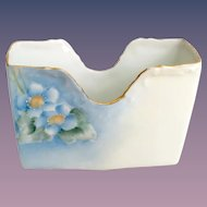 T&V Limoges France Hand Painted Blue Forget-Me-Not Card Holder