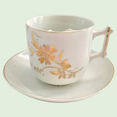 Made in Germany Remember Me Gold Decorated Mustache Cup and Saucer