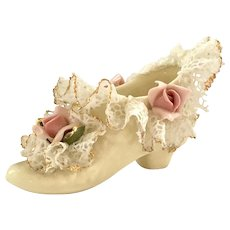 Heirlooms of Tomorrow of Manhattan Beach California Miniature Shoe with Dresden-Like Lace