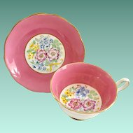 Royal Albert Bone China 2487 Floral Bouquet Yellow Ribbon Center Pink Teacup and Saucer