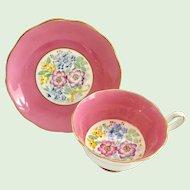 Royal Albert Bone China #2487 Floral Bouquet Yellow Ribbon Center Pink Teacup and Saucer