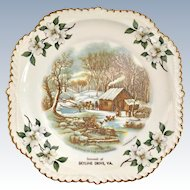 Skyline Drive Virginia Currier & Ives Gadroon Edge Souvenir Plate