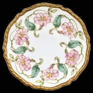 Art Nouveau Pink Morning Glory Hand Painted Plate Blakeman & Henderson Limoges France