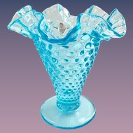 Fenton Glass Blue Topaz 5-5/8 inch Double Crimped Hobnail Vase