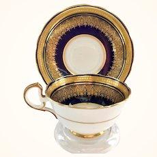 Aynsley Bone China Simcoe 7410 Encrusted Gold on Deep Cobalt Blue Teacup and Saucer