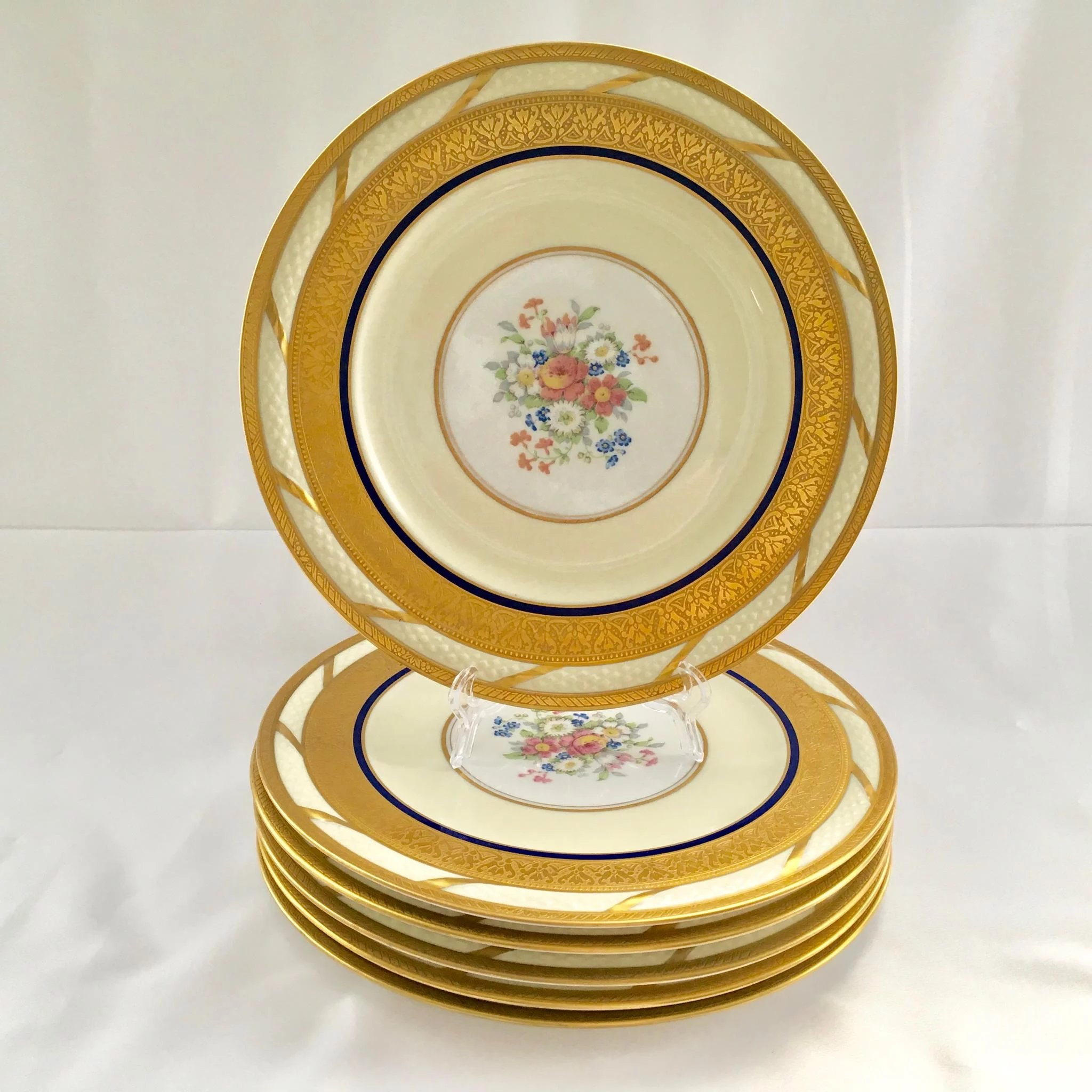 Click to expand  sc 1 st  Ruby Lane & French China La Cloche Antique Gold Encrusted Dinner Plates Tu0026V ...