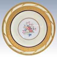 T&V Limoges France La Cloche Antique Gold Encrusted Dinner Plates Circa 1910