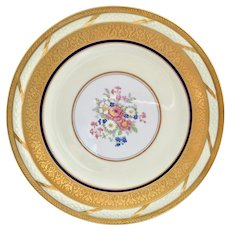 French China La Cloche Antique Gold Encrusted Dinner Plates T&V Limoges Set of Six