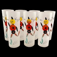 Set Federal Glass Hey Wait For Me! Mid Century Frosted Zombie Glasses
