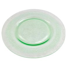 Leaf Band Green Depression Glass Luncheon Plates by MacBeth Evans