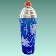 Hazel Atlas Sportsman Series Angel Fish Cobalt Blue Glass Cocktail Shaker Circa 1930s