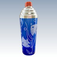 Hazel Atlas Sportsman Series Angel Fish Cobalt Blue Glass Cocktail Shaker Circa 1930s
