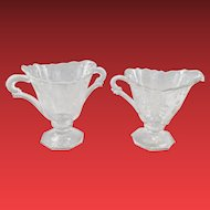 Heisey Orchid Elegant Glass Crystal Creamer and Sugar circa 1950s