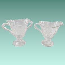 Heisey Orchid Elegant Glass Crystal Creamer and Sugar circa 1950s