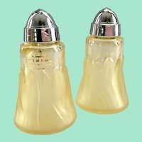 Viking Glass Epic Leaf Yellow Satin Frost Salt and Pepper Shakers