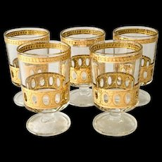 Culver Antigua Mid-Century 22K-Gold Stem Cooler Cordials - Set of Five