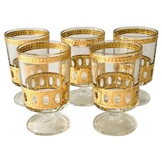 Culver Antigua Mid-Century 22K-Gold Stem Cooler Cordials - Set of Five