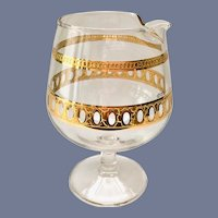 Culver Antigua 22K-Gold Small Footed Brandy Pourer Mid-Century