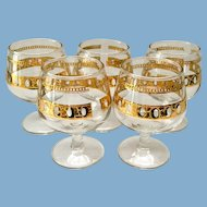 Culver Antigua Mid-Century 22K-Gold Small Brandy Snifter Glasses Set of Five