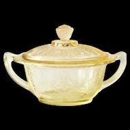 Princess Yellow Depression Glass Sugar Bowl and Cover Hocking Glass
