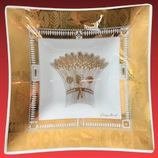 Georges Briard Harvest 22K-Gold Bent Glass Square Tray Mid-Century Glass