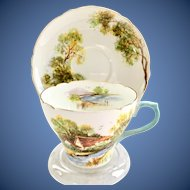 Shelley Old Mill Pattern 13669 Scenic Bone China Blue Handle Teacup and Saucer