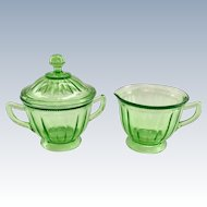 Colonial Fluted Rope Green Depression Glass Covered Sugar and Creamer Federal
