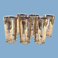 Mid-Century Gold Blue Reverse Shutters Balcony Motif Highball Tumblers Set of Six