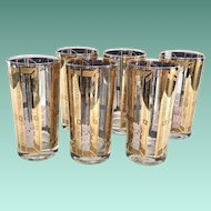 Mid-Century Gold Blue Reverse Shutters Balcony Motif Highball Tumblers Set of Six