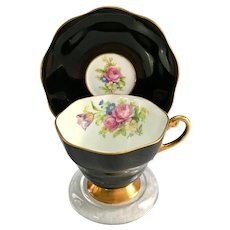 Foley Bone China #3007 Rose and Tulip Bouquet Black Teacup and Saucer