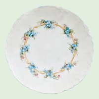 Artist Signed McKee Hand Painted Forget-Me-Not 6-inch Plate Peerless Bavaria