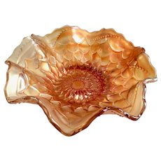 Dugan/Diamond Scales Marigold Carnival Glass Glass Ruffled Bowl