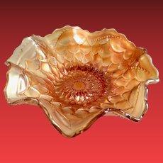 Dugan/Diamond Scales Marigold Carnival Glass Glass Ruffled Bowl