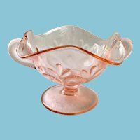 Dugan/Diamond Question Marks Pink Depression Glass Two Handled BonBon Footed and Handled Bowl