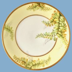 Artist Signed Luc Hand Painted Ferns Plate T&V Limoges circa 1910s