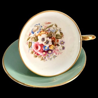 Aynsley Bone China S375 Slate Green Floral Interior Teacup and Saucer