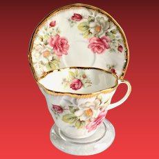 Rosina Queen's Pink Roses Floral Gilded Bone China Teacup and Saucer