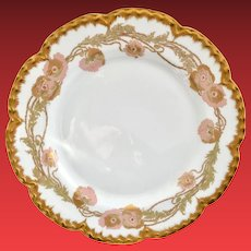 Haviland Limoges France HP Pink and Gold Poppy Motif Porcelain Plate Circa Early 1900s