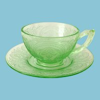 Horseshoe Indiana Number 612 Green Depression Glass Cup and Saucer