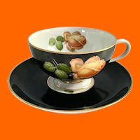 Thomas Germany Apricot Yellow Rose Black Rim Teacup and Saucer