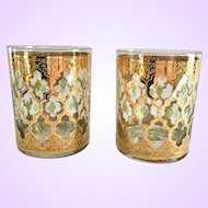 Culver Valencia 22K-Gold Mid-Century Double Old Fashion Tumblers Set of Two