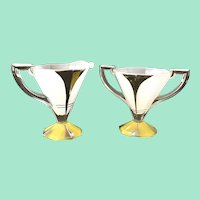 Moderne Classic Yellow and Platinum Art Deco Sugar and Creamer Indiana Glass