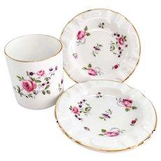 Royal Chelsea 4377A Pink Rose English Bone China Three-Piece Smoking Set