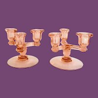 Heisey Triplex No. 129 Tricorn Flamingo Pink Elegant Glass Candle Holder Pair