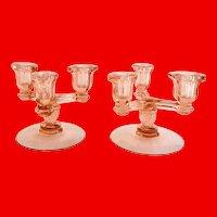 Heisey Triplex No. 129 Tricorn Flamingo Pink Elegant Glass Candle Holder Pair